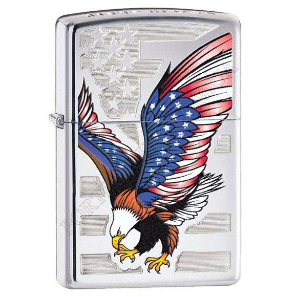 Зажигалка Zippo 28449 Eagle Flag High Polish Chrome