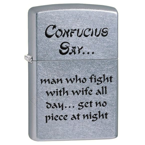 Зажигалка Zippo 28460 Confusius Say Wife Night Street Chrome